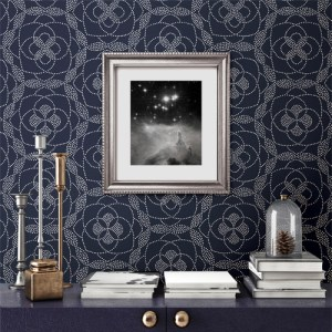 2697-22637 Brewster Wallcoverings Geometrie Cosmos Dot Wallpaper Roomset