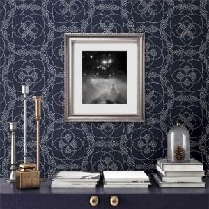 2697-22637 Brewster Wallcoverings Geometrie Cosmos Dot Wallpaper Roomset