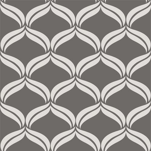 2697-22647 Brewster Wallcoverings Geometrie Petals Ogee Wallpaper Grey