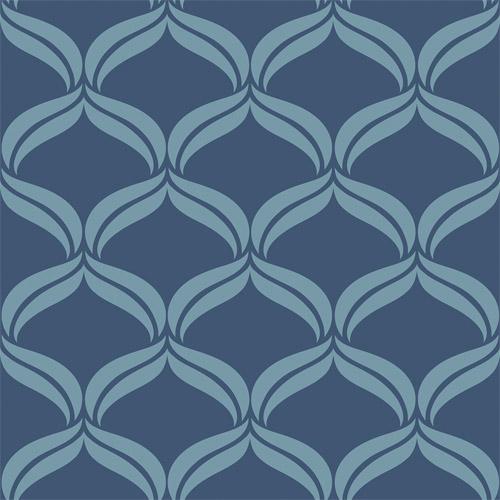 2697-22648 Brewster Wallcoverings Geometrie Petals Ogee Wallpaper Blue