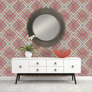 Brewster Wallcoverings Geometrie Saltire Lattice Wallpaper Roomset
