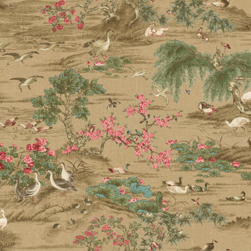 PV2965 York Ronald Redding Legacy Fragrant Garden Scenic Wallpaper Golden Brown