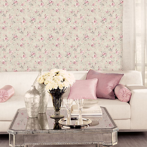 Patton Wallcoverings Rose Garden 2 Rose Vine Wallpaper Roomset