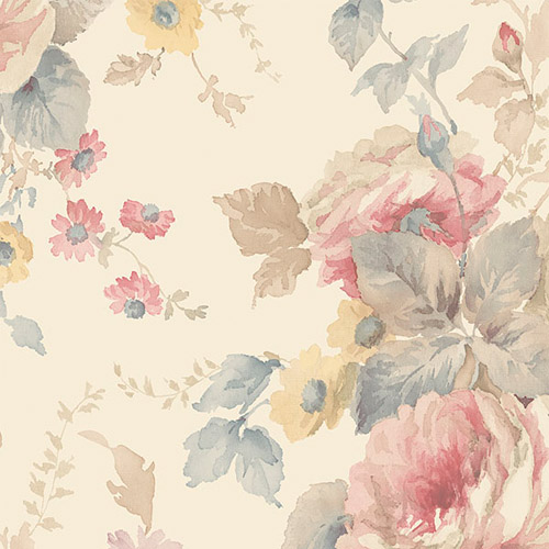 RG35726 Patton Wallcoverings Rose Garden 2 Cabbage Rose Wallpaper Pink