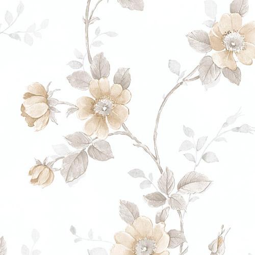 RG35731 Patton Wallcoverings Rose Garden 2 Floral Trail Wallpaper Tan