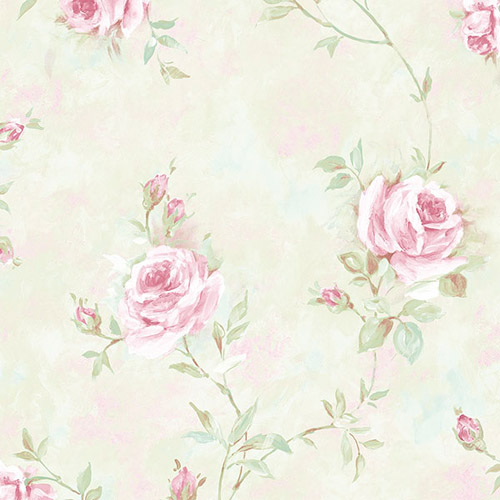 RG35740 Patton Wallcoverings Rose Garden 2 Rose Vine Wallpaper Mint