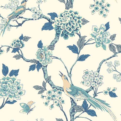 AF1900 York Wallcoverings Ashford Toiles Fanciful sure strip Wallpaper Blue