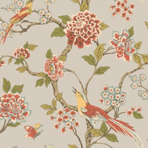 AF1905 York Wallcoverings Ashford Toiles Fanciful sure strip Wallpaper Persimmon