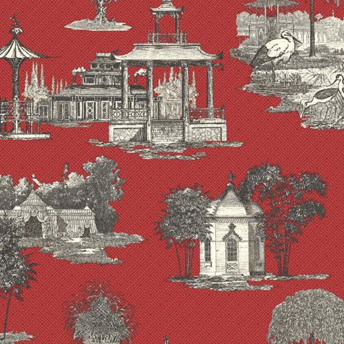 AF1915 York Wallcoverings Ashford Toiles Mandarin Dream sure strip Wallpaper Red