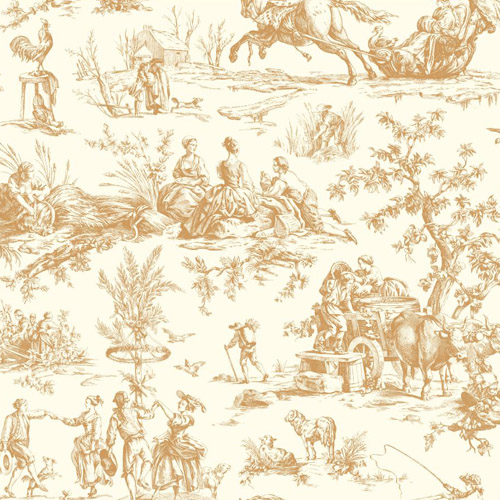 AF2001 York Wallcoverings Ashford Toiles Seasons Toile sure strip Wallpaper Metallic Gold