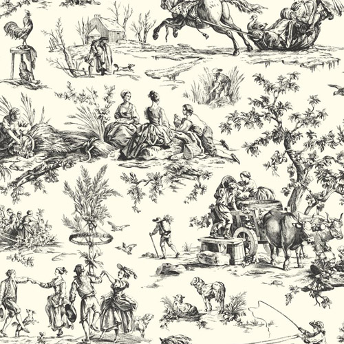 AF2002 York Wallcoverings Ashford Toiles Seasons Toile sure strip Wallpaper Black