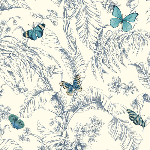 AF2026 York Wallcoverings Ashford Toiles Papillon sure strip Wallpaper Blue
