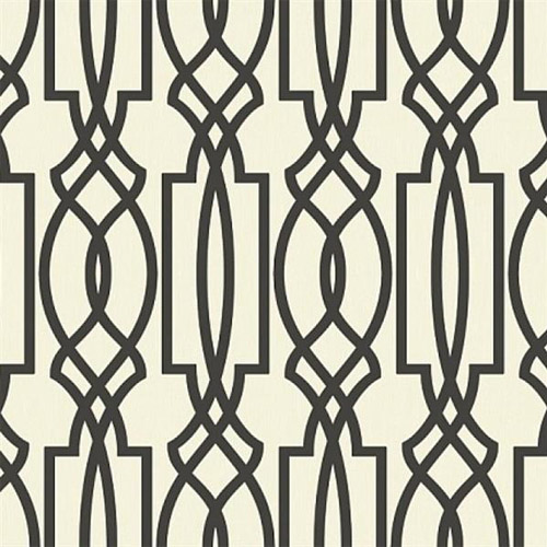 TR60000 Seabrook Wallcoverings Trois Iron Work Wallpaper Black and White