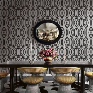 Seabrook Wallcoverings Trois Iron Work Wallpaper Roomset