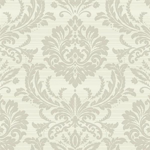 TR60108 Seabrook Wallcoverings Trois Acanthus Damask Wallpaper Pearl