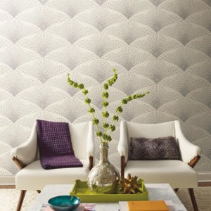 York Wallcoverings Antonina Vella Kashmir Shimmering Fan Wallpaper Roomset