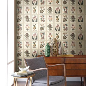 York Wallcoverings Ashford Toiles Botany sure strip Wallpaper Roomset