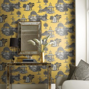 York Wallcoverings Ashford Toiles Mandarin Dream sure strip Wallpaper Roomset