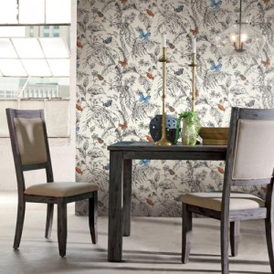 York Wallcoverings Ashford Toiles Papillon sure strip Wallpaper Roomset