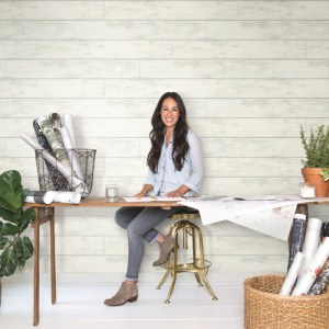 York Wallcoverings Joanna Gaines Magnolia Home Shiplap Wallpaper Roomset