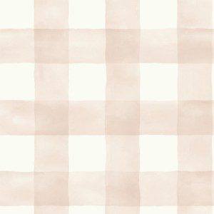 MH1517 York Wallcoverings Joanna Gaines Magnolia Home Watercolor Check Wallpaper Pink