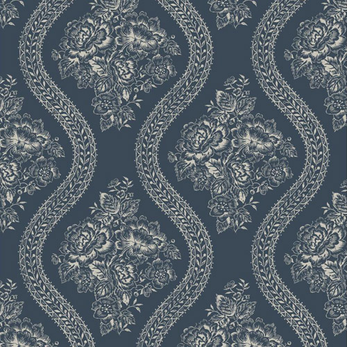 MH1603 York Wallcoverings Joann Gaines Magnolia Home Coverlet Floral Wallpaper Dark Blue