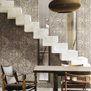 Seabrook Wallcoverings Metallika Palladium Medallion Wallpaper Roomset