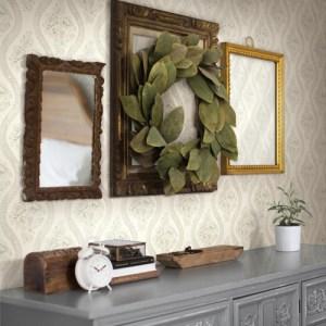 York Wallcoverings Joann Gaines Magnolia Home Coverlet Floral Wallpaper Roomset