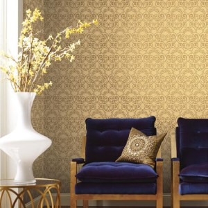 York Wallcoverings Antonina Vella Mixed Metals Shadow Scroll Wallpaper Roomset
