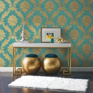 York Wallcoverings Antonina Vella Mixed Metals Acanthus Fan Wallpaper Roomset