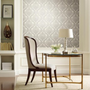 York Wallcoverings Antonina Vella Mixed Metals Tattersall Damask Wallpaper Roomset