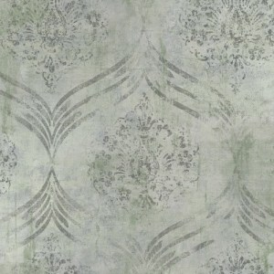 MK21204 Seabrook Wallcoverings Metallika Brilliant Ogee Wallpaper Gray