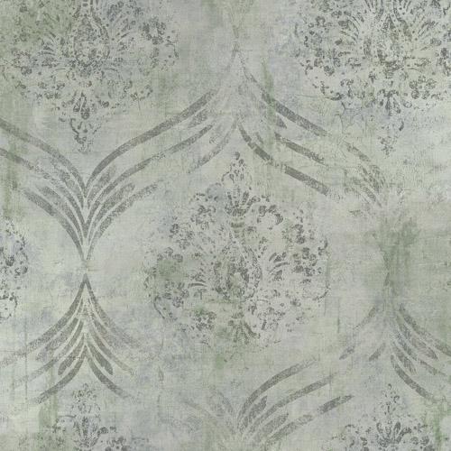 MK21204 Seabrook Wallcoverings Metallika Brilliant Ogee Wallpaper Gray