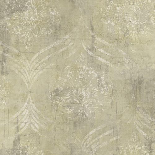 MK21205 Seabrook Wallcoverings Metallika Brilliant Ogee Wallpaper Cream