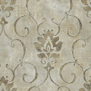MK21506 Seabrook Wallcoverings Metallika Brilliant Damask Wallpaper Taupe