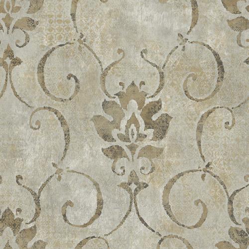 MK21506 Seabrook Wallcoverings Metallika Brilliant Damask Wallpaper Taupe