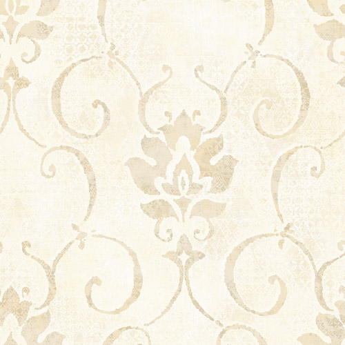 MK21507 Seabrook Wallcoverings Metallika Brilliant Damask Wallpaper Beige