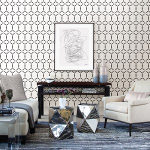 Brewster Wallcoverings Eclipse Fusion Geometric Wallpaper Roomset
