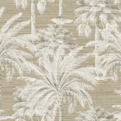PS40007 Brewster Wallcoverings Kenneth James Palm Springs Dream Of Palm Trees Wallpaper Brown