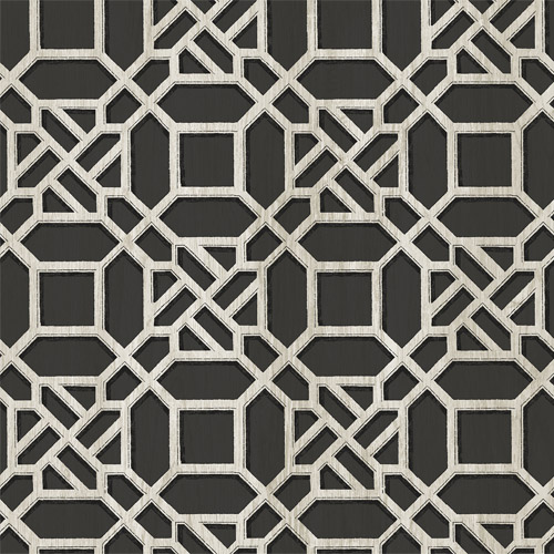 3112-002715 Brewster Wallcoverings Chesaspeake Sage Hill Adlington Geometric Wallpaper Black