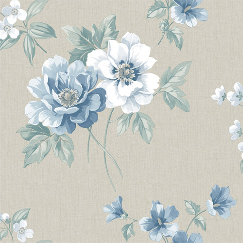 3112-002757 Brewster Wallcoverings Chesapeake Sage Hill Keighley Floral Wallpaper Blue