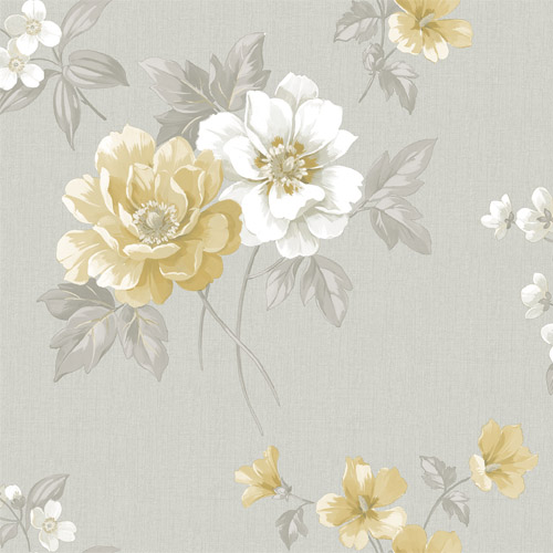 3112-002758 Brewster Wallcoverings Chesapeake Sage Hill Keighley Floral Wallpaper Grey