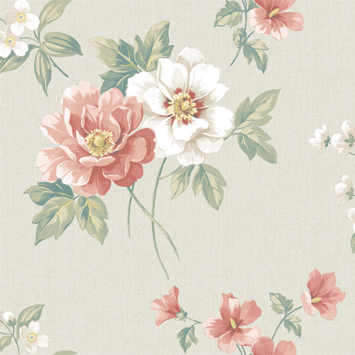 3112-002761 Brewster Wallcoverings Chesapeake Sage Hill Keighley Floral Wallpaper Coral