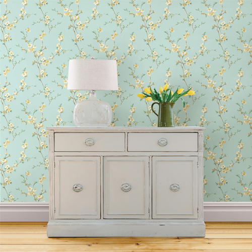 Brewster Wallcoverings Chesapeake Sage Hill Cherry Blossom Trail Wallpaper Roomset