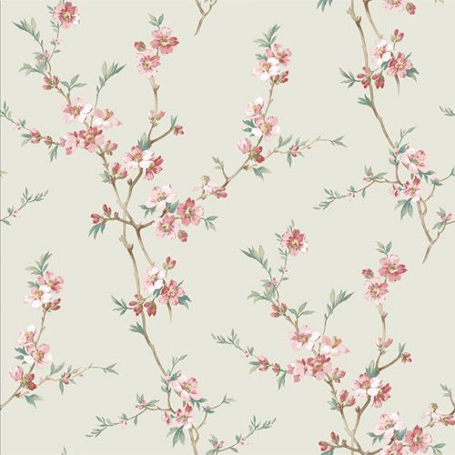 3112-002774 Brewster Wallcoverings Chesapeake Sage Hill Cherry Blossom Trail Wallpaper Sage