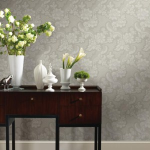 York Wallcoverings Williamsburg 3 Tazewell Damask Wallpaper Roomset