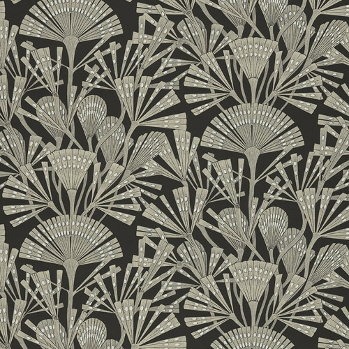 366014 Brewster Wallcoverings Eijffinger Geonature Zorah Botanical Wallpaper Black