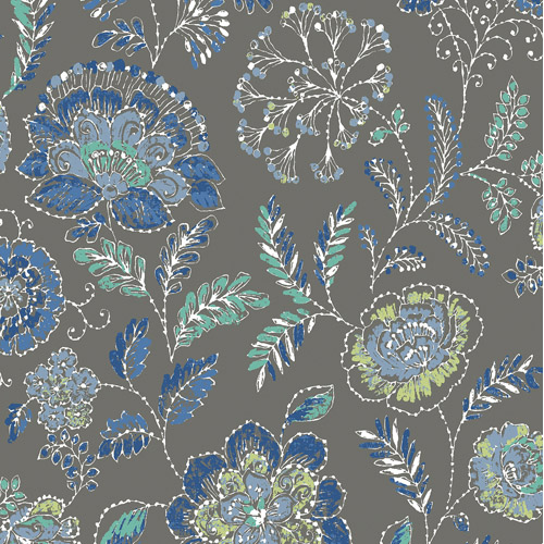 2744-24410 Brewster Wallcoverings Solstice Tropez Jacobean Wallpaper Charcoal
