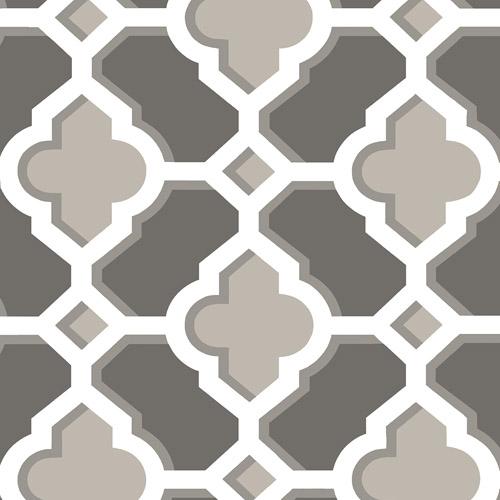2744-24122 Brewster Wallcoverings Solstice Lido Quatrefoil Wallpaper Charcoal