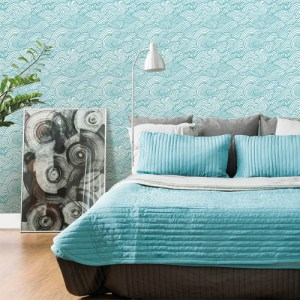 Brewster Wallcoverings Solstice Mare Wave Wallpaper Roomset